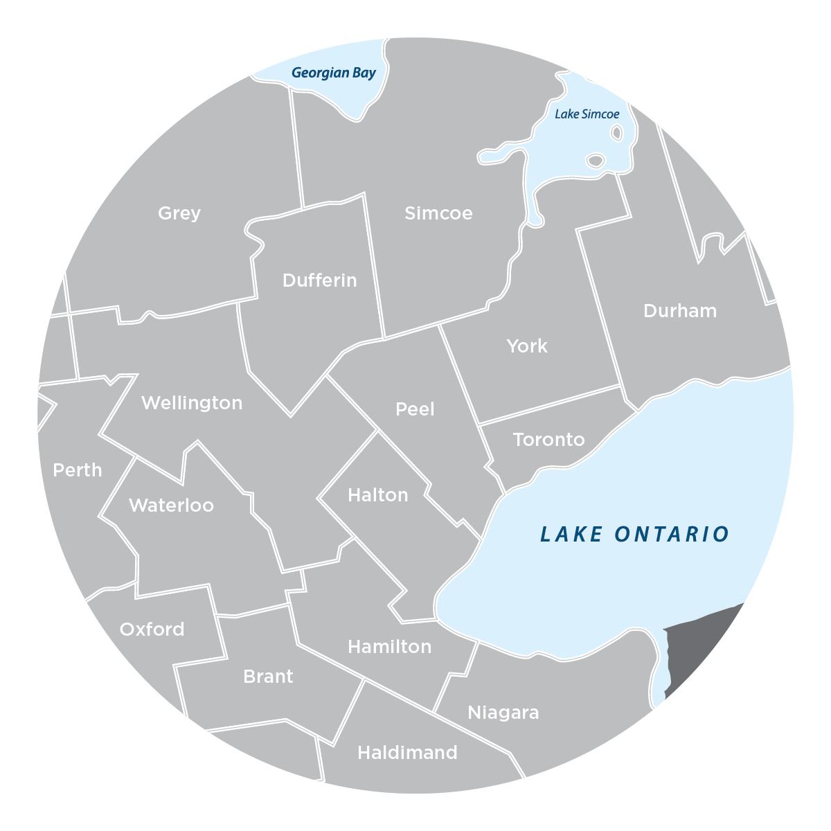JJ Greater Toronto Area Service Map